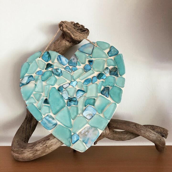 diy sea glass heart