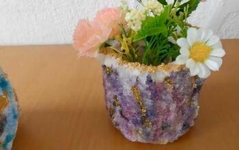 DIY Geode Crystal Planter Decor