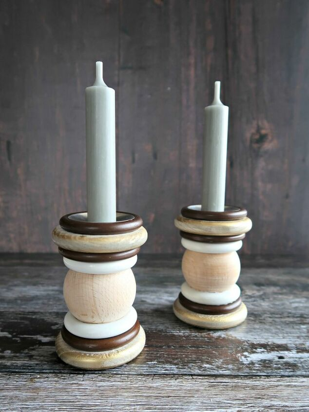 how to make candlesticks from old curtain rings