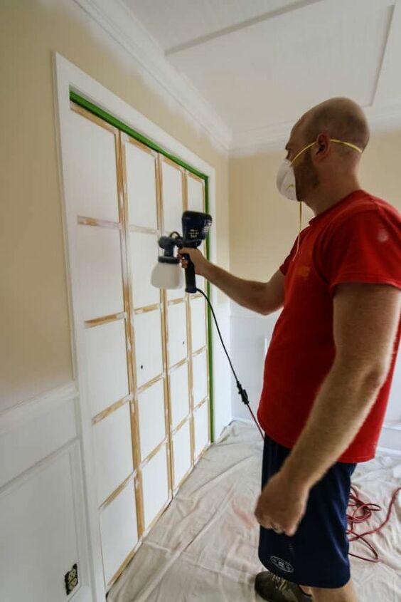 bi fold closet door makeover with paint and wood slats
