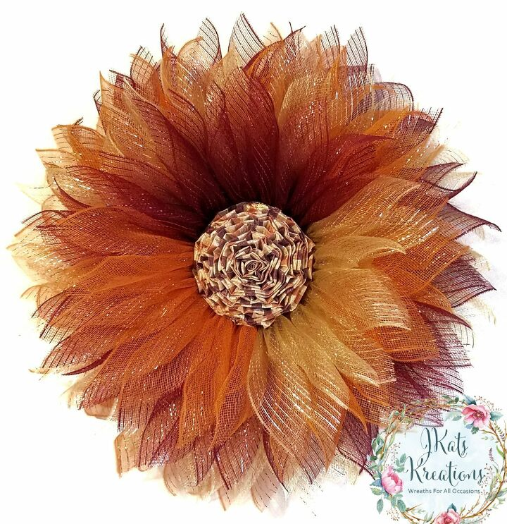 deco mesh christmas flower wreath tutorial