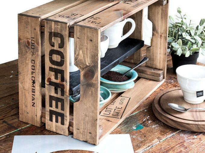 double up kitchen counter space with this easy crate coffee station
