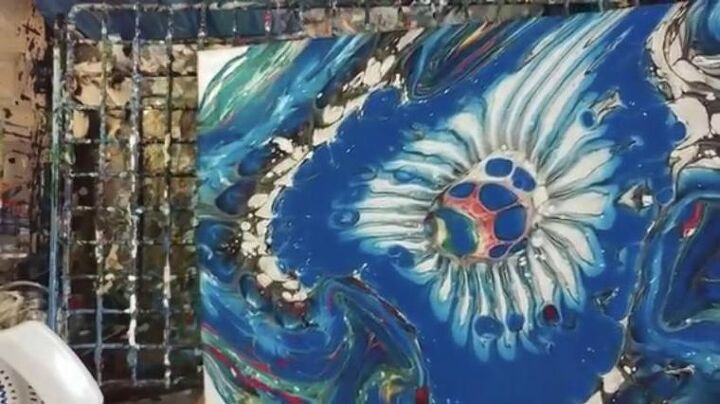how to use a colander for acrylic pour painting