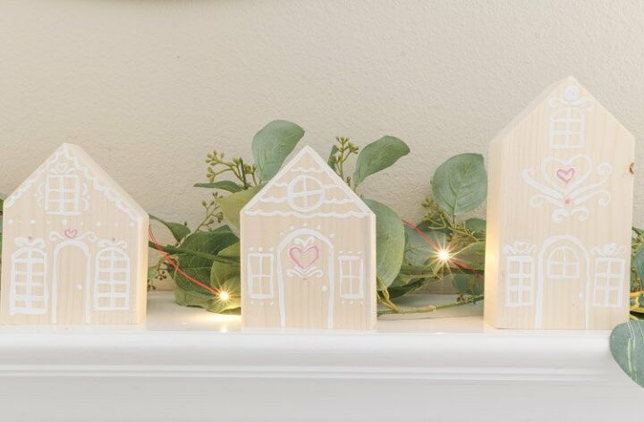 simple wooden gingerbread houses for valentine s day