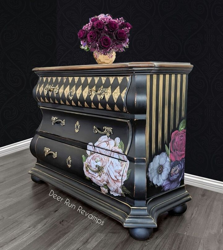 give a dresser a whimsical new life with stripes patterns flowers
