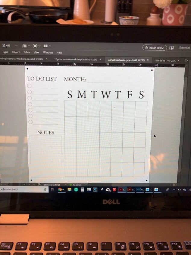 diy acrylic wall calendar, Drawing it out on the computer