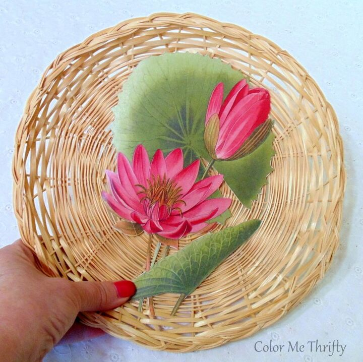 repurposed wicker plates into art