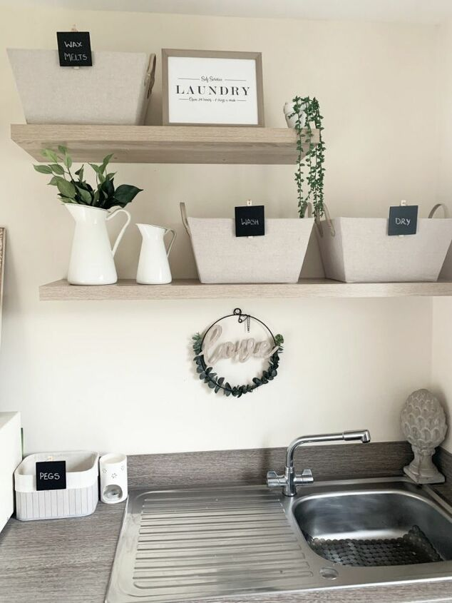 utility room shelves and baskets