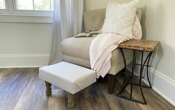 DIY Drop Cloth Covered Footstool