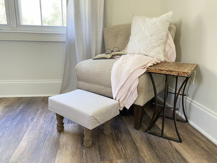 diy crop cloth covered footstool