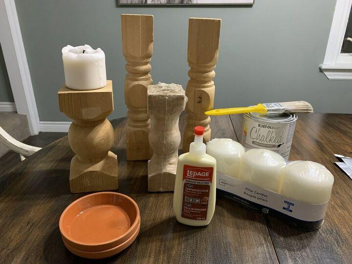 diy rustic wood candlesticks