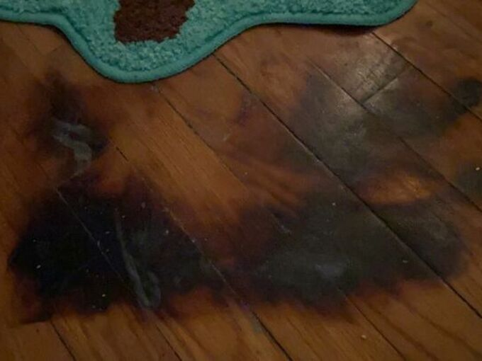 q how do i fix burn marks on my hardwood floor
