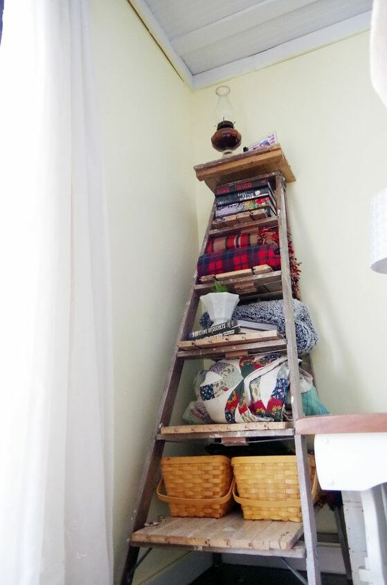 blanket storage shelves out of my grandpa s old wooden ladder