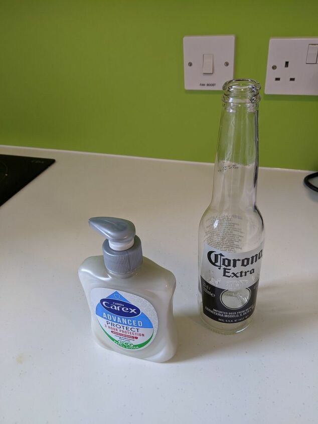 transforming a beer bottle to a soap dispenser