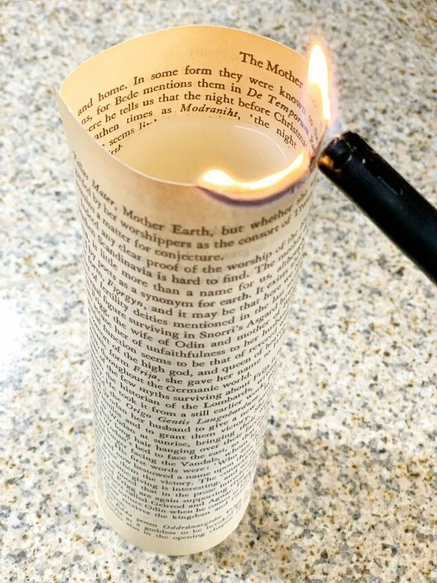 romantic book page candles