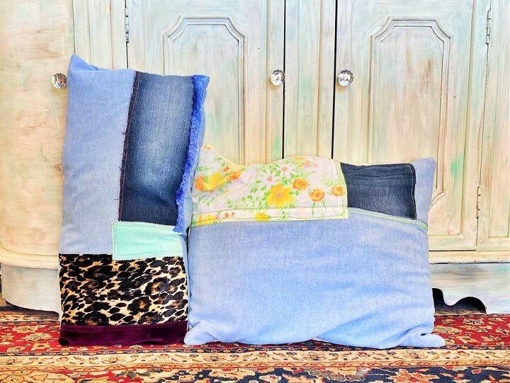 scrap denim throw pillows