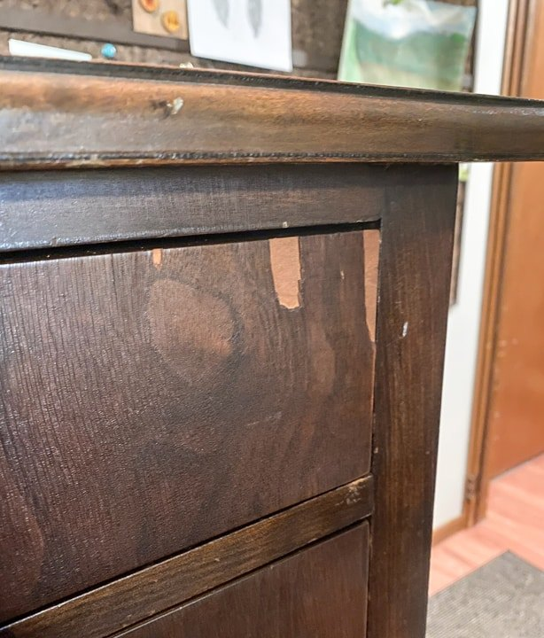 chipped veneer dresser becomes two toned beauty