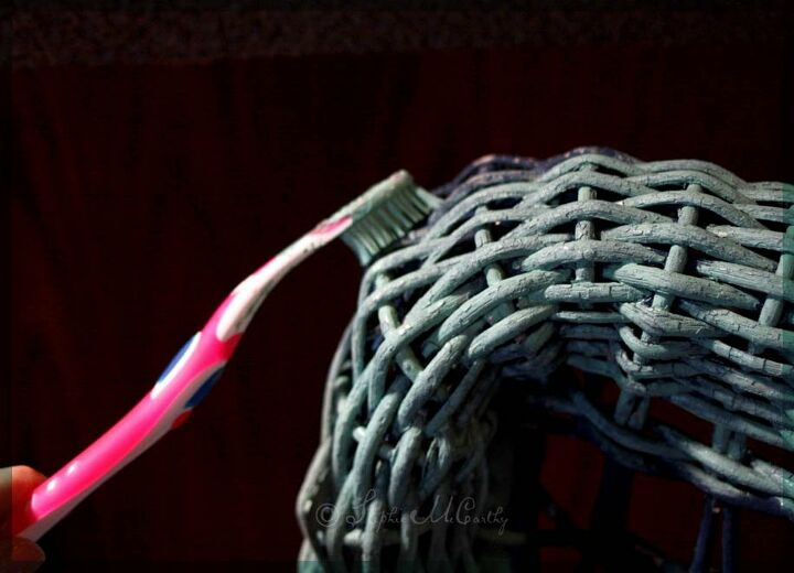 restore chippy wicker with wax paint and an ordinary toothbrush
