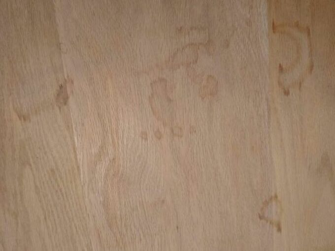 q how do i remove stains from my bare oak table top