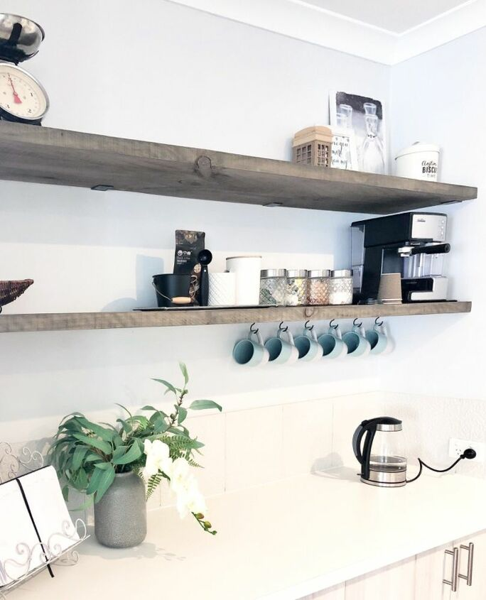 kitchen refresh with recycled timber shelves