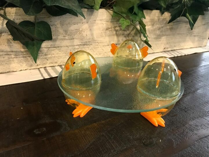 easter chick glass tray