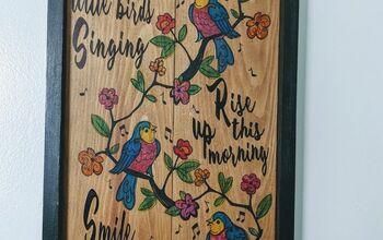 Watercolor on Wood- 3 Little Birds