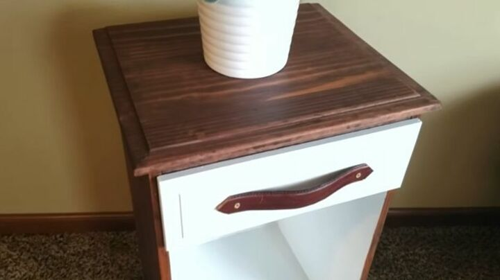 DIY End Table with Leather Handle