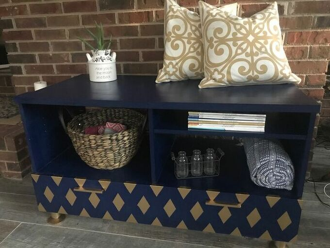 goodwill tv stand makeover boring to fabulous, AFTER Decorated