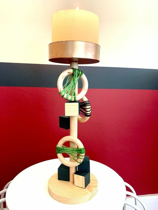modernist candle stick from kitchen towel holder