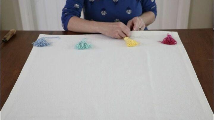 no sew drop cloth rug with tassels