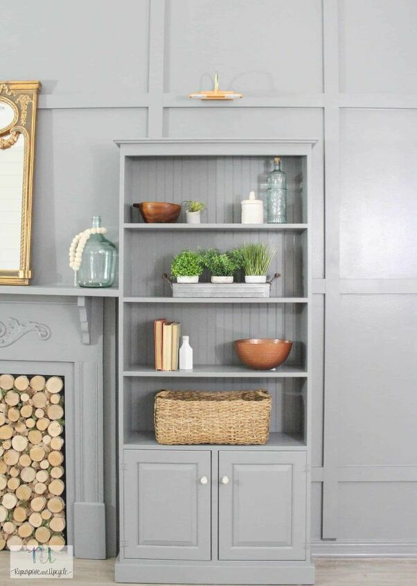 diy feature wall of built in bookshelves
