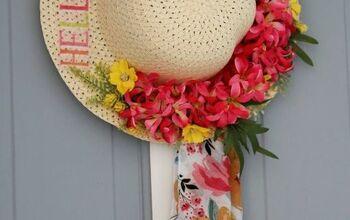 DIY Spring Straw Hat Front Door Decor!