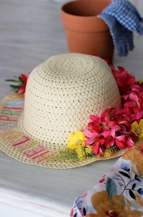 diy spring straw hat front door decor