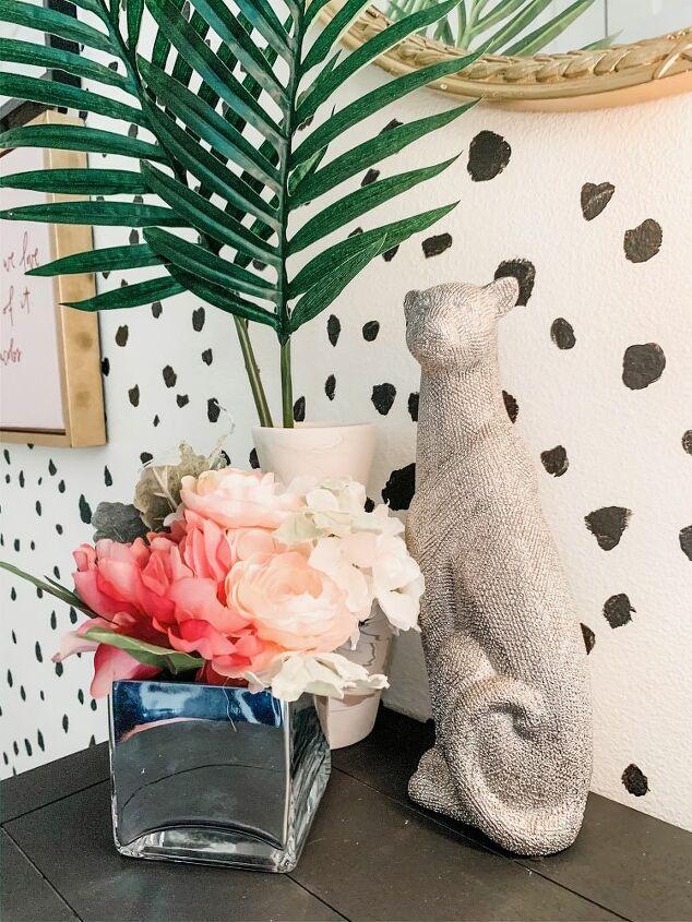 diy dalmatian accent wall entryway makeover