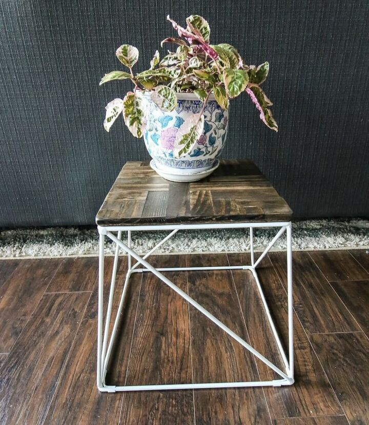 how to turn an upholstered stool into a plant stand with a wooden top