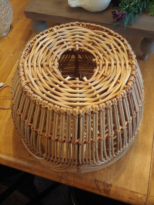 basket light fixture and fairy light globe