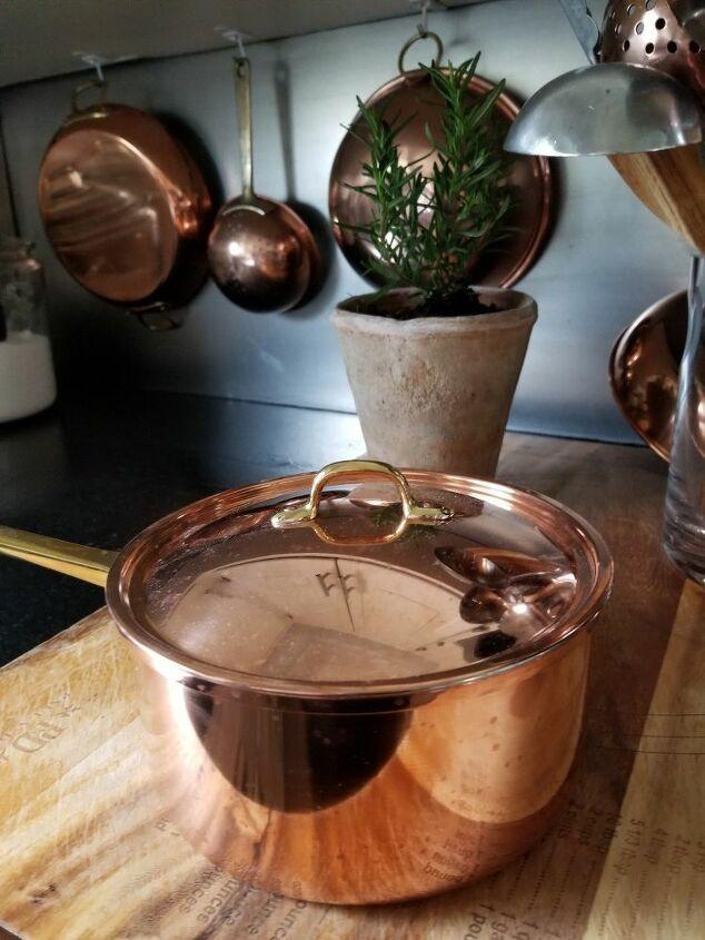 polishing vintage copper cookware
