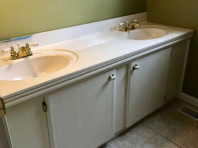 q how do i update a large bathroom vanity from the 1960 s