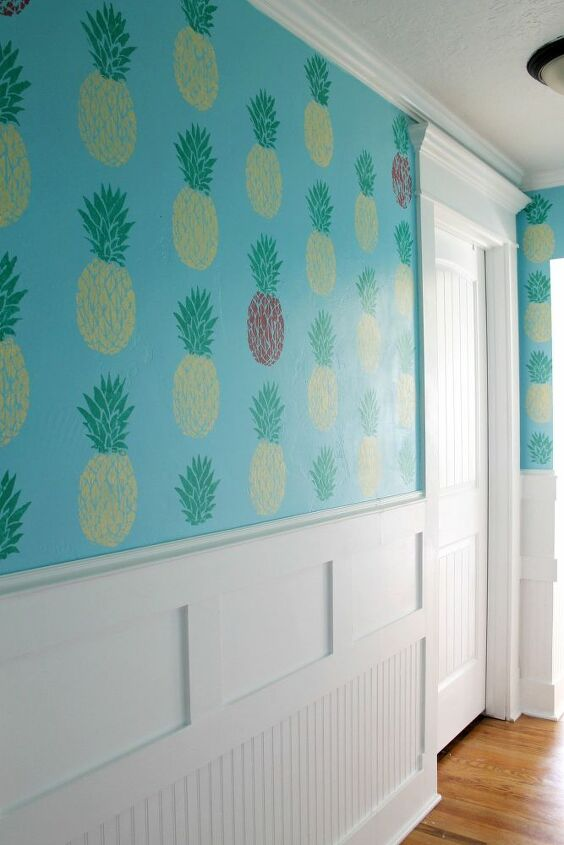 hallway gallery wall makeover using a pineapple stencil