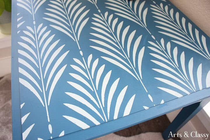 11 99 goodwill find side table stenciled makeover
