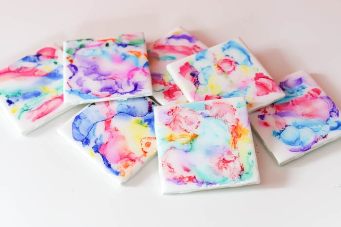 colorful resin coasters