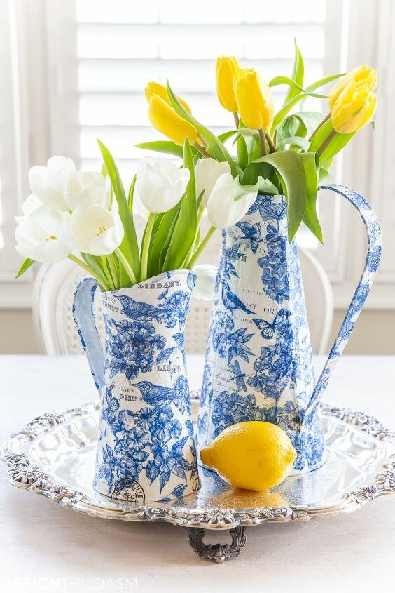 blue and white decor diy spring chinoiserie paper craft