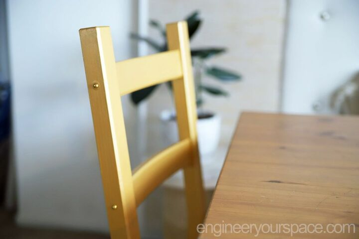 ikea chair hack with a little bit of paint and some fabric