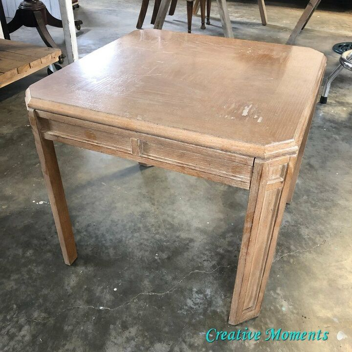 cerused oak table using reactive stain