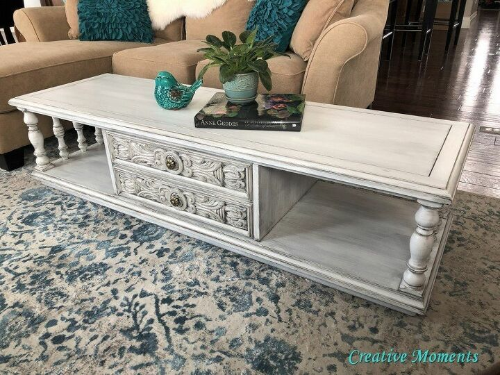 layers of farmhouse white ornate vintage coffee table
