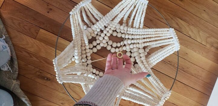 how i turned a builder grade boob light into a beaded chandelier