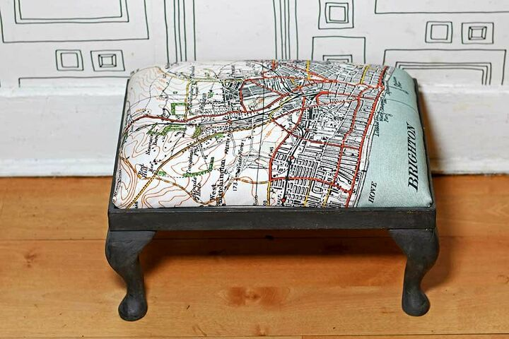 how to upholster a footstool with a tea towel