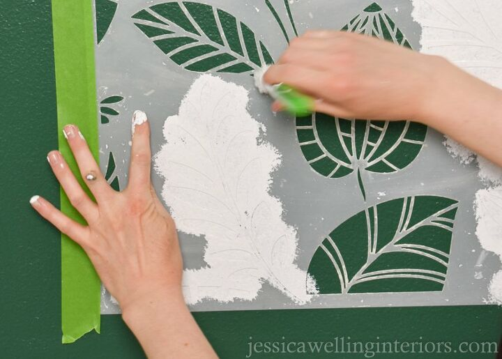 stenciled accent wall with stencil revolution