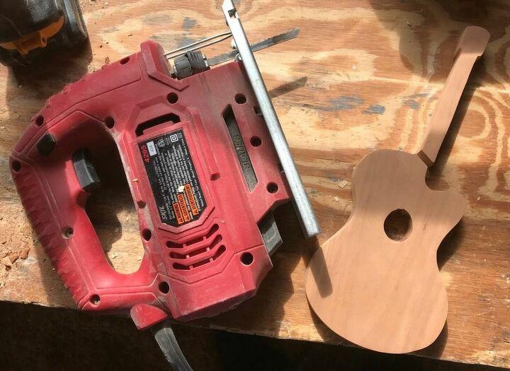 scrap wood guitar bookends