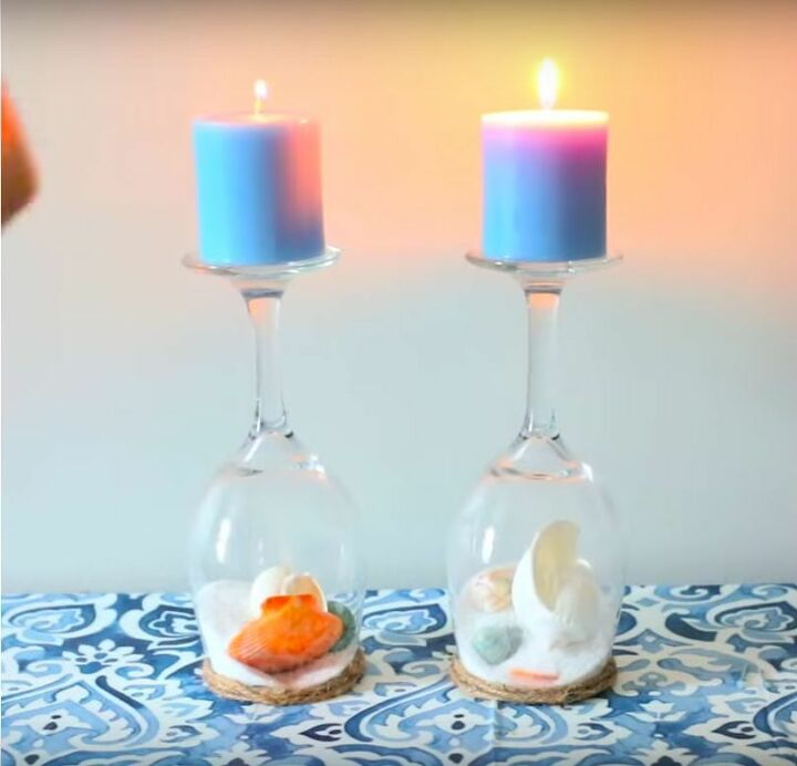 s 15 coastal home decor ideas when you re missing the beach, Wine Glass Seashell Candleholders